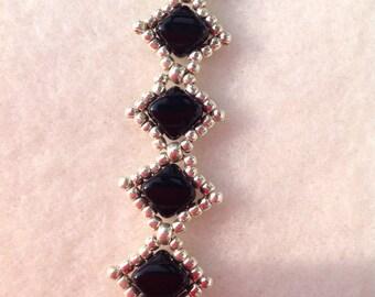 Black and Silver Handwoven Beaded Bracelet