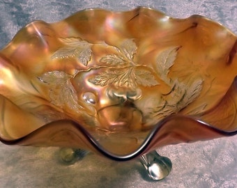 Carnival Glass Bowl -- Marigold Footed (FREE SHIPPING)