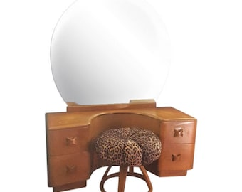 Heywood Wakefield Vanity and Pouffe - RIO in Wheat