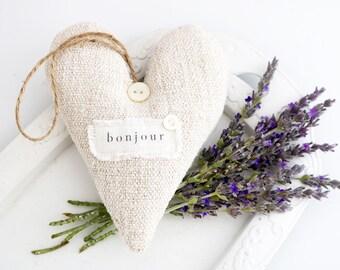 Vintage French Linen Lavender Sachet Heart, BON JOUR