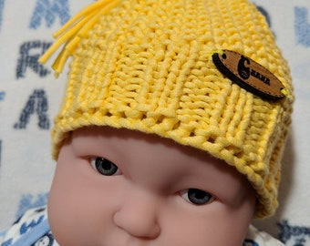 knitted hat for newborn, baby, baby cotton Beanie hat, knitted hand, new born, birth gift, vegan