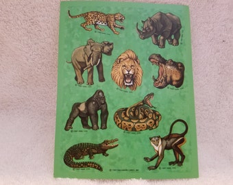 1987 Hallmark Jungle Animals Sticker Sheet