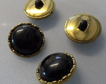 6 buttons shank plastic 18 mm round black and gold