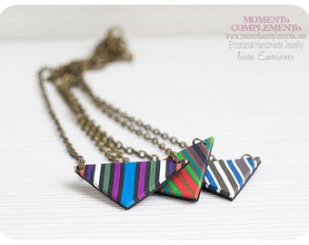 Pendants triangle colorful stripes handmade polymer clay & bronze. Chic necklace of geometric pattern and small size. One of kind designs.