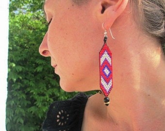 Native American, Huichol Inspired Red and Blue Beaded Chevron Earrings with Bronze and Silver, 100% Handmade by Us