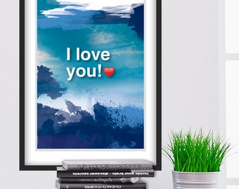 A4. I LOVE YOU. Ho'oponopono healing Sentence poster. Meditation quote poster. Typography poster. Home Wall decor. Gift (Po-A4-061)