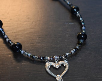 Beaded heart necklace