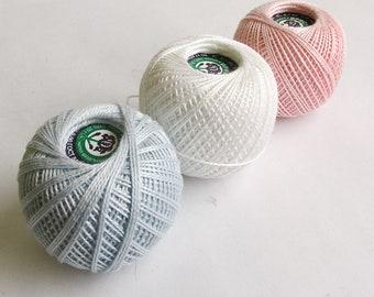 Cotton crochet thread, 3 balls, white pink blue, 25 g per ball