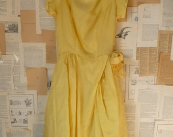 1950s Vintage DressYELLOW Party Formal Full Sundress Summer S