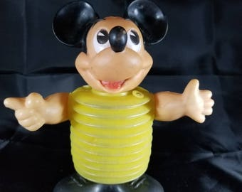 """Walt Disney Productions Mickey Mouse Squeak Toy 1960s Marx Plastic Toy Made in Hong Kong 7"""" Tall by 6"""" Wide"""