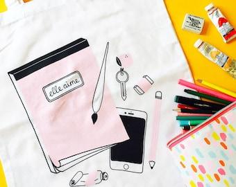 Elle Aime Tote bag   screenprinted bag, cotton tote bag, pink tote bag, white tote, cute bag, art supply bag, illustrated tote bag, pink