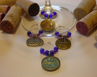 Happy Camping Wine Charms