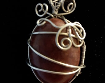 Red Jasper wire wrapped cabachon
