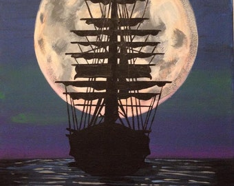 Boat with Full Moon - Acrylic Painting - Seascape - Night - Sailing - Original Art