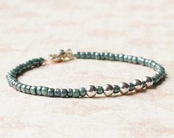 Turquoise Seed Bead Bracelet, Silver Beads Bracelet, Stacking Bracelet, Simple Bracelet, Beaded Bracelet, Minimalist Bracelet