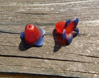 2 Red and Blue Hand Painted Lucite Lily Flower Beads
