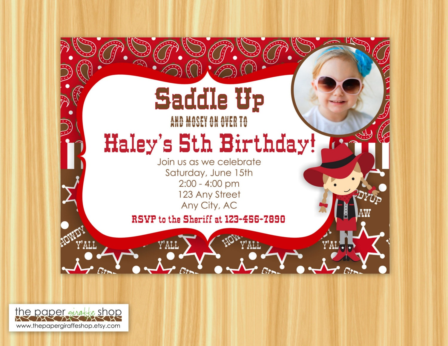 Cowgirl Invitation Cowgirl Birthday Party Invitation with