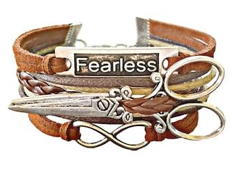 Scissor Bracelet, Shears Bracelet, Hairdresser Gift, Hairstylist Jewelry, Fearless Bracelet, Silver Scissors Bracelet, Hairdresser Bracelet