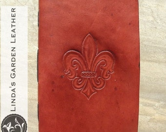 Handmade Leather Fleur-de-Lis Journal or Sketchbook