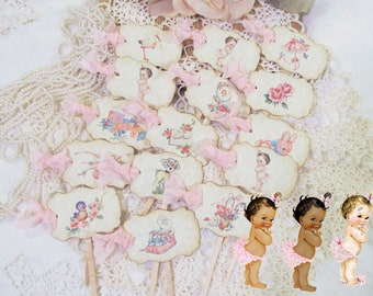Vintage Baby Girl Mix Cupcake Toppers w/ribbons - Set of 18 Parchment Baby Shower Party Picks - girl baby shower - its a girl