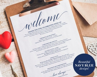 Navy Wedding Itinerary, Welcome Bag, Printable Itinerary, Welcome Letter, Favor, Blue Wedding Printable, PDF Instant Download #BPB320_53