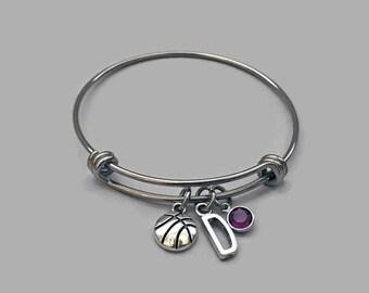 Basketball Bracelet, Basketball Charm Bracelet, Basketball Charm, Sports Charm, Initial Bracelet, Birthstone Bracelet, Personalized Bracelet