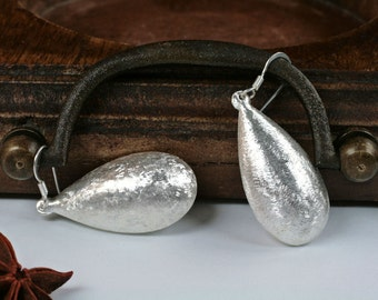 Big Silver Earrings, Silver Dangle Earrings, Sterling Silver Earrings, Silver Earrings