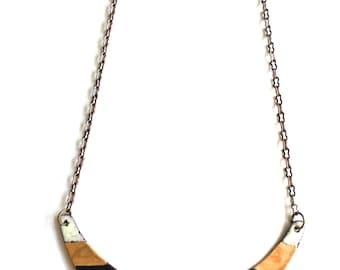 Enamel Crescent Necklace