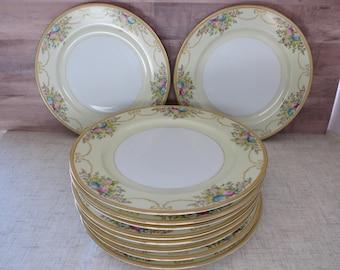 MEITO Chine 10 pouces assiettes plates, lot de Chine de dix assiettes, Meito Chine N1065A, Meito MEIN1065A, peint à la main Meito Chine - V336