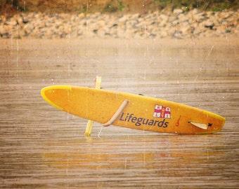 Vintage Lifeguard Surfboard - beach home decor orange shore distressed vintage print yellow praa sands cornwall