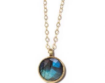 Stone of Magic Necklace   10mm Labradorite Necklace   Bronze, Gold-fill and Labradorite Stone Necklace
