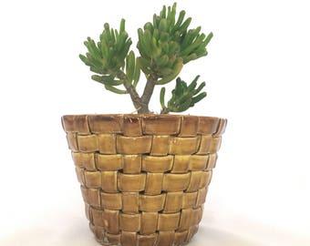 Vintage Cermaic Basket Planter