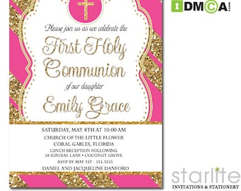 First Communion Invitation Pink Gold, Hot Pink Gold Glitter 1st Communion Invitation Girl, First Communion Invite Printable, Printed