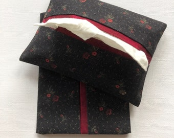 Purse Tissue Holders- Black and Red Flowers Fabric- Pocket Tissue Case-  Handmade- Tissue Packet Cover- Purse Accessory- Gift under 10