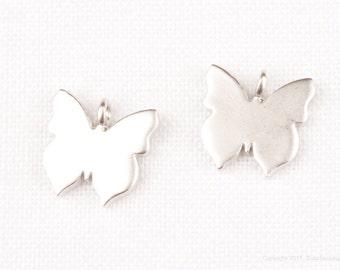 P809-MR// Matt Original Rhodium Plated Butterfly Pendant, 2Pcs