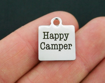 Happy Camper Stainless Steel Charm - Exclusive Line - Quantity Options - BFS150
