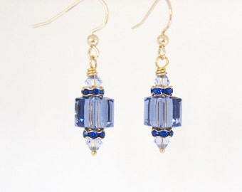 Tanzanite Crystal Cube Earrings, Gold Filled Earrings, Lavender and Navy Blue Earrings, Crystal Cube Jewelry, Wedding Jewelry