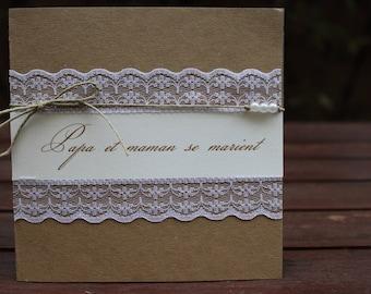 3 premium kraft and lace invitation | rustic chic wedding.