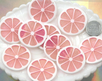 Grapefruit Charms - 35mm Colorful Citrus Fruit Resin Charms - Pink - 5 pc set