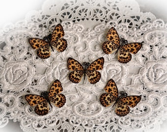 Reneabouquets Tiny Treasures Butterfly Set -  Leopard  Butterflies Scrapbook Embellishment, Wedding Decoration, Home Decor