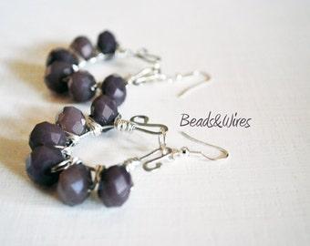 Hoop earrings, silver wire and purple petals