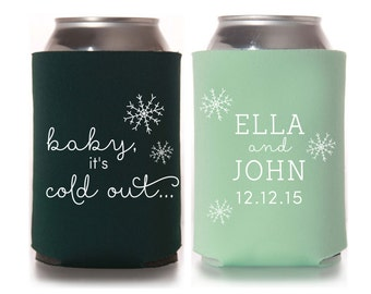 Winter Wedding Favors - Personalized Wedding Can Coolers, Reception Favors for Guests, Beer Insulators, Stubby Holders, Christmas Wedding