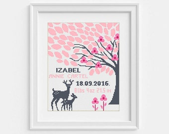 Baby announcement cross stitch pattern, Nursery embroidery Birthday gift Personalized pdf pattern Flower DIY gift Baby girl tree, deer