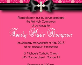 First Communion Invitation - Pink Damask First Communion Invitation - You Print Invite by FabPartyPrints