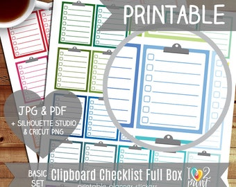 Clipboard Full Box Printable Planner Stickers, Erin Condren Planner Stickers, Clipboard Stickers, Full Box Stickers - CUT FILES