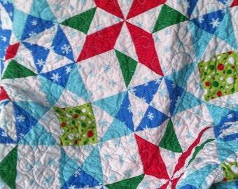 Christmas Quilt, Christmas Throw, Red, Green, White, Blue, Aqua, Patchwork Christmas Quilt, Ready to Ship, Handmade, Moda Fabric