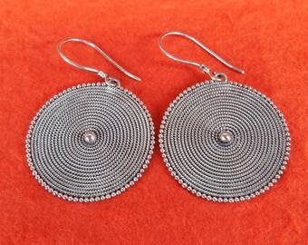 Circles Silver sterling dangle Earrings / 1.65 inch long / silver 925 / Handmade Bali jewelry