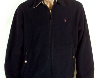 vtg 90s euc Polo Ralph Lauren Black Fleeck Zip Front Jacket Chin Strap Pony sz L