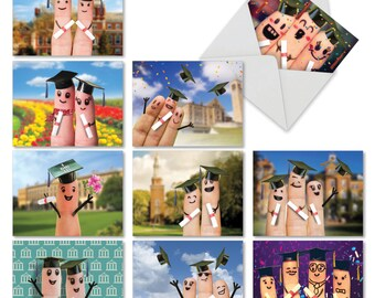 M3851CGG-B1x10 GRADUATION DIGITS - CONGRATS: 10 Asst. Congratulations Cards Ft. Cute and Quirky Images of Fingers Dressed For Graduation Day