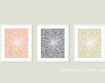 Modern Flower Art Prints - Flower Wall Art Print Set - Spring Decor - Peach Slate Grey Tan Beige